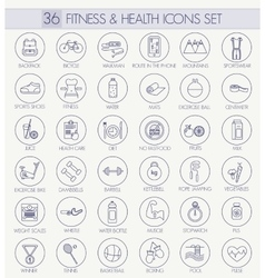 Fitness and health outline icon set Modern vector image vector image