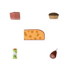 Flat icon food set of meat tart cheddar slice vector