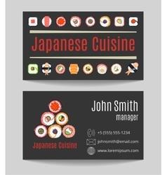 Japanese cuisine restaurant black business card vector image vector image