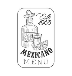 restaurant mexican food menu promo sign in sketch vector image vector image