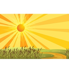 A sunset scenery at the hills vector image vector image