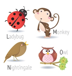 Alphabet with animals from L to O vector image vector image