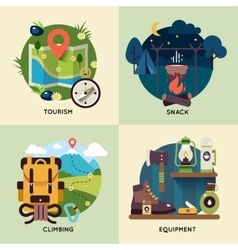 Camping Square Icon Set vector image vector image