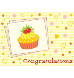 card with a cupcake vector image vector image