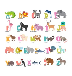 Cute cartoon animals alphabet from A to Z vector image