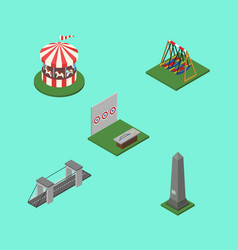 Isometric urban set of aiming game seesaw vector