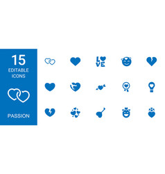 15 passion icons vector image