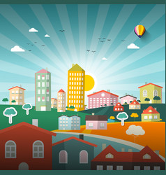 abstract city flat design town vector image