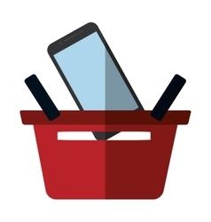 basket buying online smartphone commerce color vector image