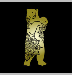 Bear icon golden bear mandalas vector