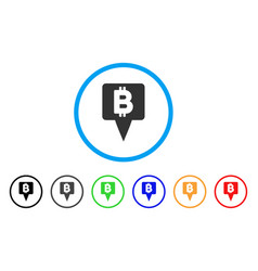 bitcoin map pointer rounded icon vector image