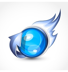 Blue ball with flames vector
