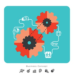 Business concept icons with gear vector