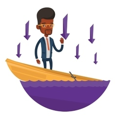 Business man standing in sinking boat vector image