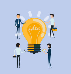 businessman and creative bulb light idea abstract vector image
