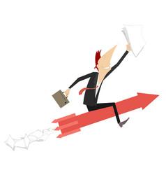Businessman rides on an arrow sign concept vector