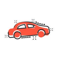 car icon in comic style automobile car cartoon vector image