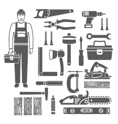 Carpentry Tools Black Silhouettes Icons Set vector image
