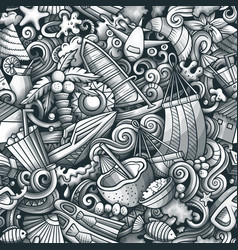Cartoon doodles maldives seamless pattern vector