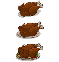 Cartoon fried thanksgiving day turkey on tray vector