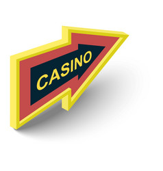 Casino direction sign icon isometric 3d style vector