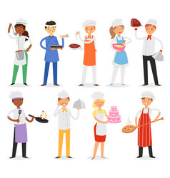 chef cook character woman or man cooking vector image