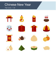 chinese new year icons flat design vector image
