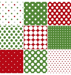Christmas Polka Dot Seamless Patterns vector