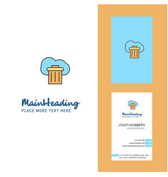 cloud trash creative logo and business card vector image