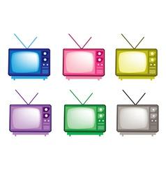 Colorful Set of Retro Television Icon vector image