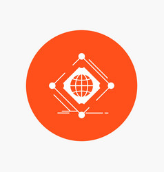 Complex global internet net web white glyph icon vector