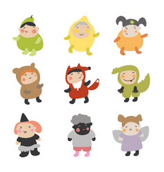 cute kids character set of vector image