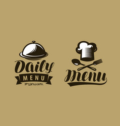 daily menu logo or label symbol of restaurant or vector image