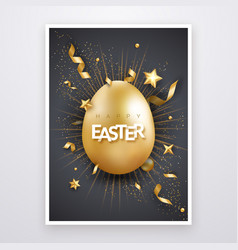 easter background with realistic golden egg text vector image