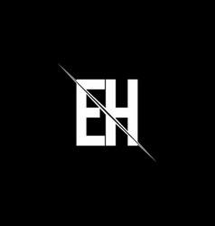 eh logo monogram with slash style design template vector image