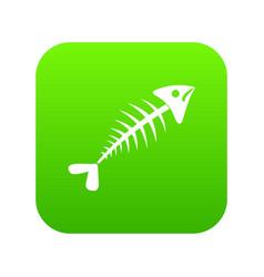 fish bone icon digital green vector image