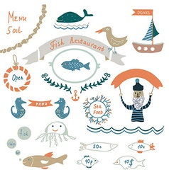 Fish restaurant invitation or menu elements vector image