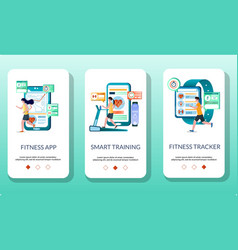 fitness mobile app onboarding screens vector image