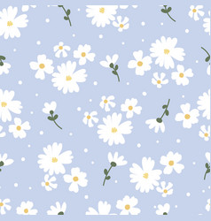 flat style white daisy flower on blue background vector image