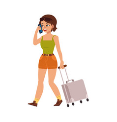 flat woman tourist with travel bag suitcase vector image