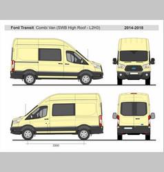 Ford transit combi delivery van l2h3 2014-2018 vector