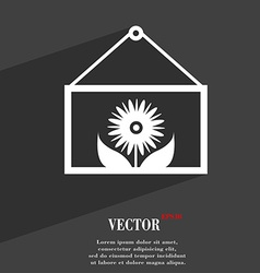 Frame with flower icon symbol Flat modern web vector