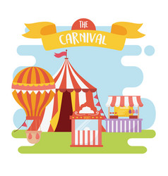 fun fair carnival food booth tent air balloon vector image
