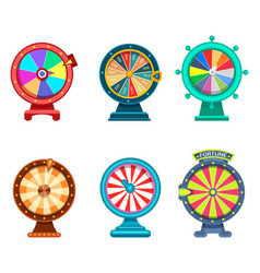 Gambling roulette or wheel fortune icons vector