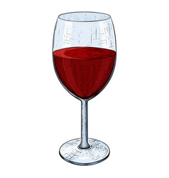 Glass of red wine hand drawn sketch vector