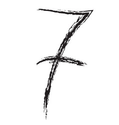 hand drawn number 7 vector image