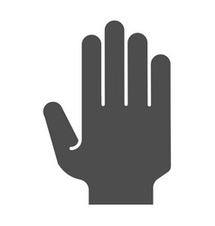 hand with open fingers solid icon arm gesture vector image