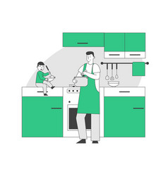 Happy family routine concept single father vector