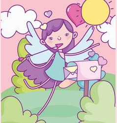 happy valentines day cute cupid with arrow vector image