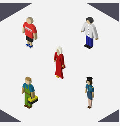 isometric person set of male guy female and vector image